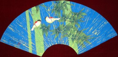 Bamboo and bird-Fan - Chinese Painting