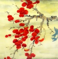 Feuille rouge - peinture chinoise