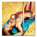 Tangan-Dicat Orang Oil Painting - Set 2