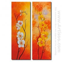 Tangan-Dicat Floral Oil Painting - Set 2