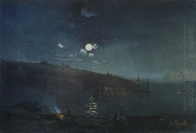 moonlit night landscape with fire