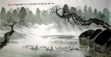 Willows,children and boats - Chinese Painting