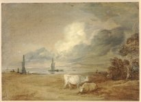 Coastal Scene With Shipping Figures And Cows