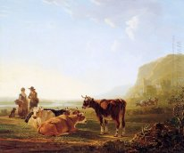 Landscape with resting cows