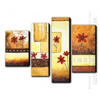 Hand Painted Oil Painting Floral Daisies - Set of 4 1211-FL0041