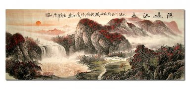Waterfall, Red hills - Chinese Painting