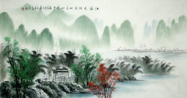Landscape with water and birds - Chinese Painting