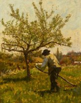 A Man Scything in an Orchard
