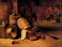 An interior scene with pots, barrels, baskets, onions and cabbag