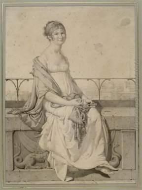 Portrait Of Miss Barbara Bansi Sitting In An Italian Landscape