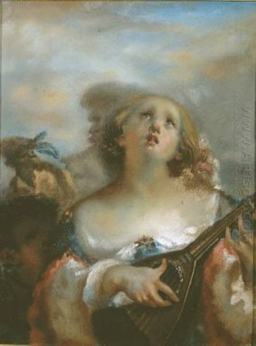 Young Girl Playing Mandolin 1845