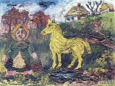 Woman With Wooden Bucket And Yellow Horse