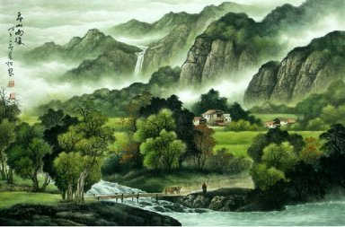Mountains and river - Chinese Painting