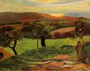 breton landscape fields by the sea le pouldu 1889