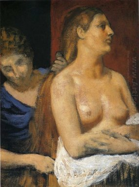 A Maid Combing A Woman S Hair