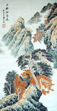 Landscape with pines - Chinese Painting