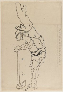 Drawing Of Man Resting On Axe And Carrying Part Of Tree Trunk On