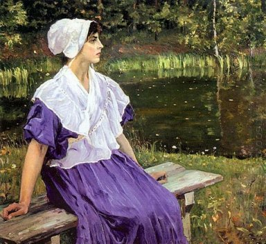 Girl By A Pond Portrait Of Natalia Nesterova 1923