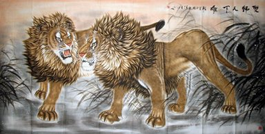 Lion-Double Lion win the world - Chinese Painting