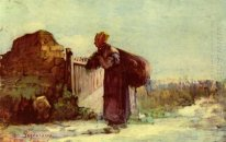French peasant woman with a bag on her back