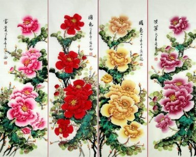 Four-color-Peony-FourInOnee - Chinese Painting