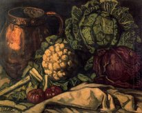 Still life with Red Cabbage, Copper, Cauliflower and Cabbage