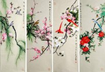 Birds & Flowers-FourInOnee - Pittura cinese