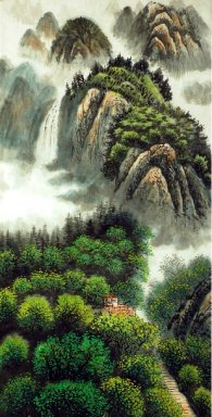Lodge on the hill.2 - Chinese Painting