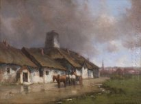 Horse and Cart With Cottage Under Stormy Sky
