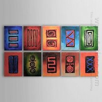 Hand-painted Abstract Oil Painting - Set of 10