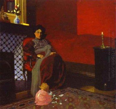 Interieur rode kamer met vrouw en kind 1899 olieverfschilderijen - Schilderij slaapkamer kind ...