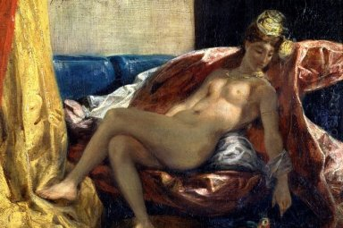 Reclining Odalisque Or Woman With A Parakeet 1827