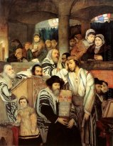 Jews Praying in the Synagogue on Yom Kippur