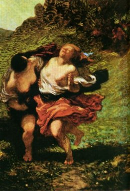 Two Nymphs Pursued By Satyrs