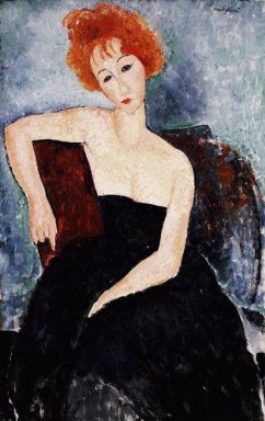 red headed girl in evening dress 1918