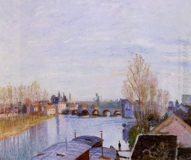 the loing at moret the laundry boat 1890