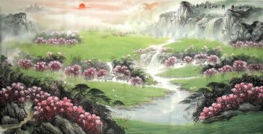 River, flowers - Chinese Painting