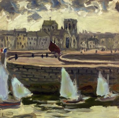 Boats In Port At Low Tide 1905