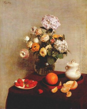 Still Life Vase Of Hydrangeas And Ranunculus 1866