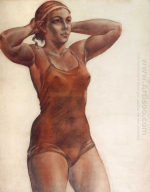 the girl knotted ribbon on his head sketch a picture bather 1951