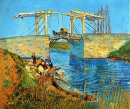 The Langlois Bridge At Arles With Women Washing 1888 1