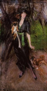 Portrait Of A Lady Lina Bilitis With Two Pekinese 1913