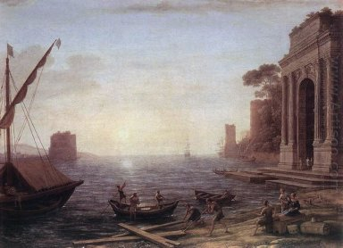 A Seaport At Sunrise 1674