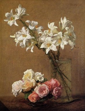 Roses And Lilies 1888