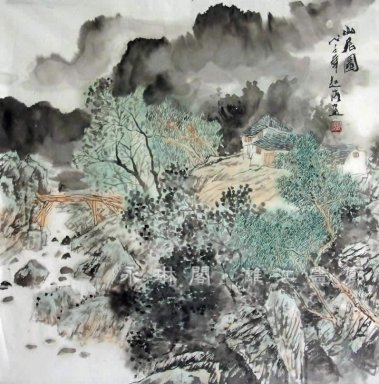 A farmhouse, tree - Chinese Painting