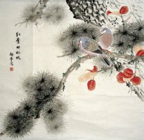 Pine-Red leaves - Chinese Painting