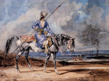 A Turkish Man On A Grey Horse