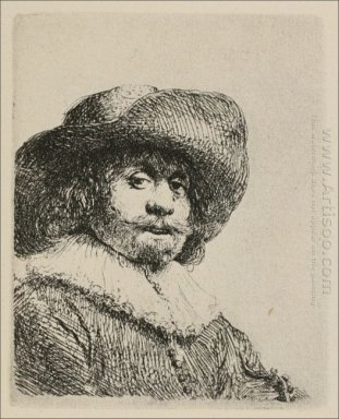 A Portrait Of A Man With A Broad Brimmed Hat And A Ruff 1638