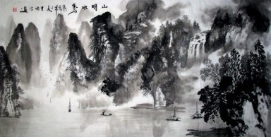 Waterfall and Forest - Shuling - Chinese Painting