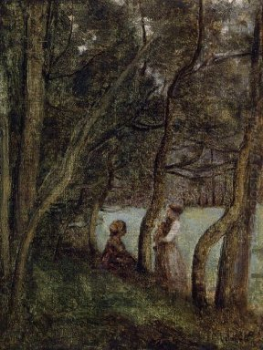 Les Alinges Haute Savoie Figures Under The Trees 1845
